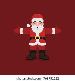Cartoon Santa Claus Closed Eyes