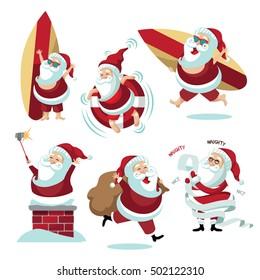 Mounted Rubber Stamp Santa w Pool Floatie Summer Santa Christmas Santa Claus