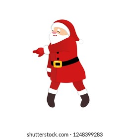 Cartoon Santa Claus disco dancer, quirky comic animation character, retro funny dance, isolated vector image, white background, 1970s style for print, greeting card, party invitation, motion design.