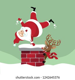 Cartoon Santa Claus doing a cartwheel into a chimney while his reindeer watches and laughs. Eps10 vector illustration.