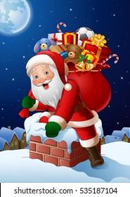 Cartoon Santa Claus enters a home through the Chimney