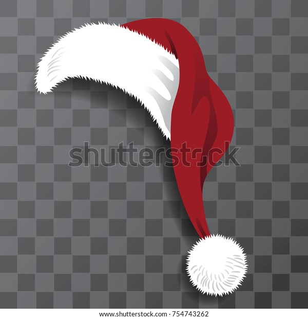 Christmas Hat Transparent.Cartoon Santa Claus Hat Transparent Shadow Stock Vector
