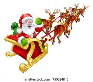 Cartoon Santa Claus and his flying sleigh sled and Christmas reindeer