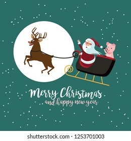 Cartoon Santa Claus in his sleigh with his pis to celebrate Christmas and Chinese New Year. EPS10 vector illustration.