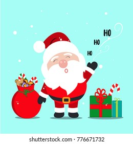 Cartoon Santa Claus with a Ho Ho Ho message, a red bag of gifts and candies and presents on the floor. Blue background with snowflakes falling from the sky.