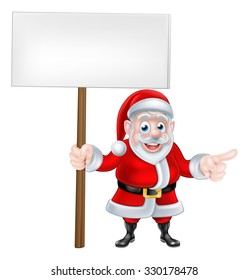 Cartoon  Santa Claus holding a sign board banner and pointing