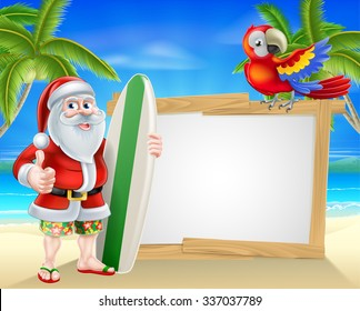 Cartoon of Santa Claus holding a surf board and doing a thumbs up in his Hawaiian board shorts and flip flop sandals in front of a sign on a beach with a parrot on the sign and palm trees background