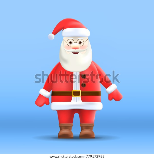 Cartoon Santa Claus Isolated on Background. Realistic Christmas Character. Vector Illustration.