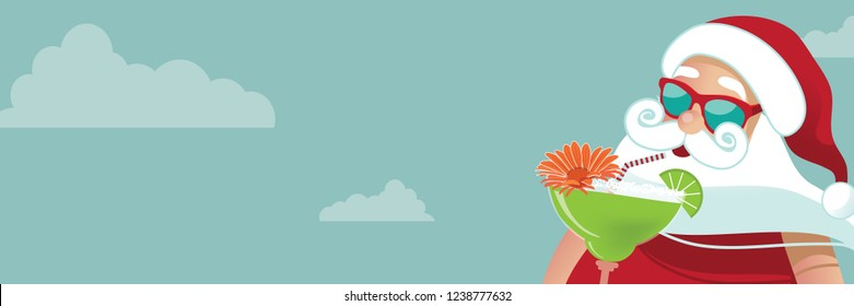 Cartoon Santa Claus with a margarita in the tropics. Horizontal Christmas banner background with copy space, Eps10 vector illustration.