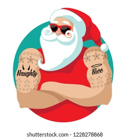 Cartoon Santa Claus muscle man with naughty and nice tattoos. Eps10 vector illustration.