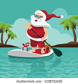 A Cartoon Santa Claus on his stand up paddle board in the tropics. For Christmas in July, greeting cards, poster. Eps10 vector illustration.