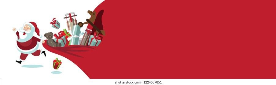 Cartoon Santa Claus pulling a huge bag of Christmas gifts. Banner background with copy space. EPS10 vector illustration.