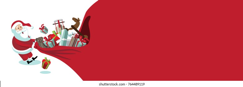 Cartoon Santa Claus pulling a huge bag of Christmas gifts. Banner background with copy space. EPS 10 vector illustration.