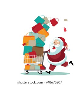 Cartoon Santa Claus pushing a shopping cart full of gifts. EPS 10 vector.