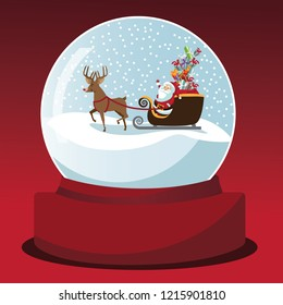 Cartoon Santa Claus and reindeer deliver Christmas gifts in a snow globe. Snowy Father Christmas scene under glass. EPS10 vector illustration.