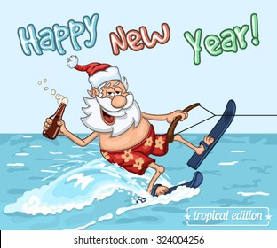 Cartoon Santa Claus  rides on the sea surface on  water skis. New Year's greeting card from warm seas