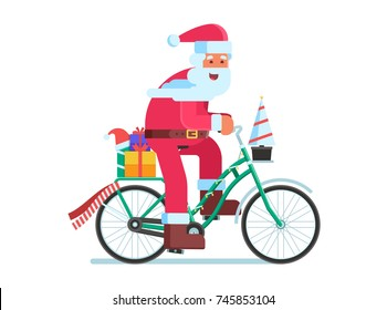 Cartoon Santa Claus riding bicycle with gifts. Christmas bike with Father Frost delivering presents vector illustration isolated on white background.
