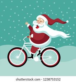 Cartoon Santa Claus riding his bicycle. Eps10 vector illustration.
