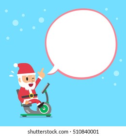 Cartoon santa claus riding recumbent exercise bike white speech bubble