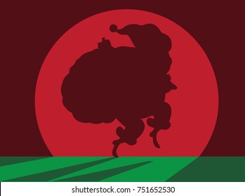 Cartoon Santa Claus shadow sneaking in the spotlight to deliver Christmas gifts. EPS 10 vector.