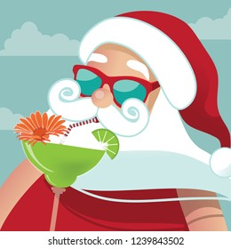 Cartoon Santa Claus sipping a margarita in the tropics. Eps10 vector illustration.