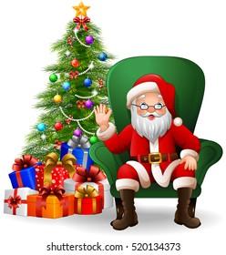 Cartoon Santa Claus sitting on green arm chair
