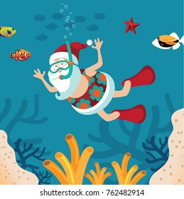 Cartoon Santa Claus snorkeling in a tropical sea. Christmas in July, in warm climates, Santa Claus on vacation after Christmas, Boxing Day. Santa in retirement. EPS 10 vector illustration.