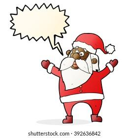 cartoon santa claus with speech bubble