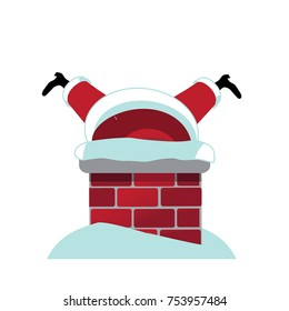 Cartoon Santa Claus stuck upside down in the chimney while delivering gifts. EPS 10 vector.