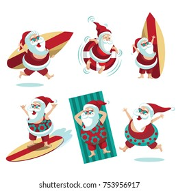 Cartoon Santa Claus  summer collection. EPS 10 vector.