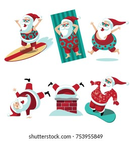 Cartoon Santa Claus summer and winter collection. EPS 10 vector.