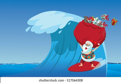 Cartoon Santa Claus surfing a gnarly wave while delivering Christmas gifts. Background with copy space for tropical Christmas or after Christmas. EPS 10 vector.