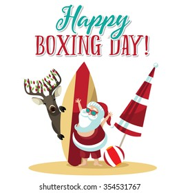 Cartoon Santa Claus waves hello from the beach to wish you a Happy Boxing Day. EPS 10 vector illustration.