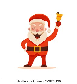 Cartoon Santa Claus for Your Christmas and New Year greeting Design or Animation. Vector isolated illustration of happy Santa Claus ringing a hand bell in colorful flat style