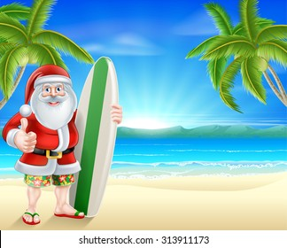 Cartoon Santa holding a surfboard and giving a thumbs up in his board shorts and sandals on a beach with palm trees in the background