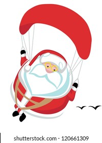 Cartoon  Santa paragliding. Separate layers