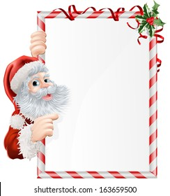 Cartoon Santa pointing at  at Christmas sign decorated with sprigs of holly