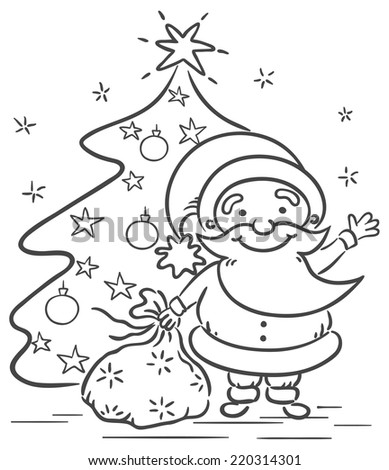 Cartoon Santa Presents Christmas Tree Black Stock Vector Royalty