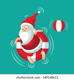 Cartoon Santa relaxing in an inner tube on the tropical sea. Christmas in June, July, August, for poster, marketing, advertising, summer sale, greeting card. EPS 10 vector illustration.