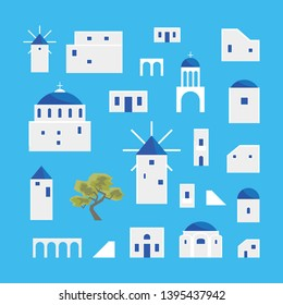 Cartoon Santorini Island Village Icon Set Travel and Tourism Concept Element Flat Design Style. Vector illustration of Greek Vacation
