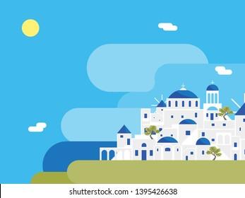 Cartoon Santorini Island Village Landscape Background Travel and Tourism Concept Element Flat Design Style. Vector illustration of Greek Vacation