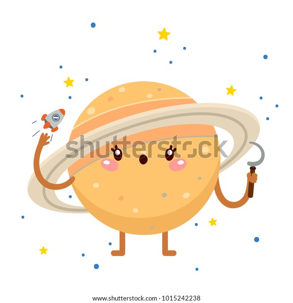 Cartoon Saturn Sickle Planet God Greek Stock Vector (Royalty