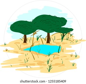 Cartoon savanna with lake vector illustration in round frame isolated on white background.