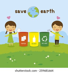 cartoon Saving the Earth, Recycling boy and girl, ecology concept
