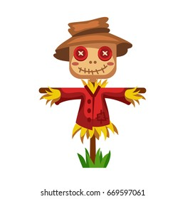 Cartoon scarecrow of straw in a red shirt and hat, buttons instead of eyes