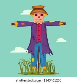 Cartoon scarecrow of straws