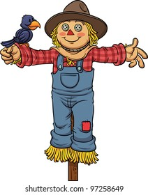 Cartoon scarecrow. Vector illustration with simple gradients. All in a single layer.