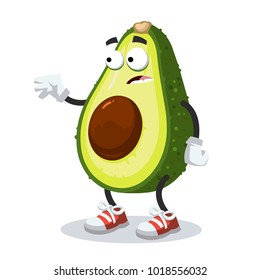 cartoon scared avocado mascot in sneakers on a white background