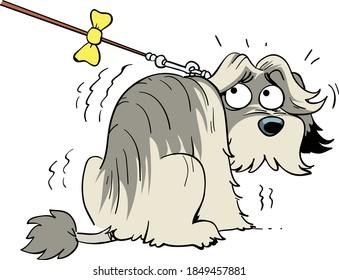 dessin animé illustration vectorielle de chien effrayé