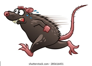 Cartoon scared rat escapes from something.